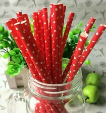 25pcs Red and White Polka Dot Paper Drinking Straws *BUY 3 GET 1 FREE*