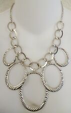 Silvertone Chain Necklace Oversize Hammered Aluminum Oval Dangling Links