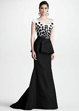 Oscar de la Renta Floral Embroidered Peplum Gown, Black/White  SZ US 8 - NWT