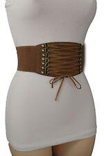Women Wide Corset Belt Sexy Fashion Brown Elastic Hip High Waist Front Tie S M