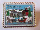 #2400 Christmas One Horse Sleigh 1989 25c Greetings Stamp Pinback USPS pin NEW