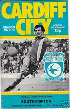 CARDIFF CITY V SOUTHAMPTON   2ND DIVISION  29/3/78