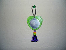 Heart Shaped Green Mirror & Bead Bird Toy  Parakeet Cockatiel, Love Bird, Canary