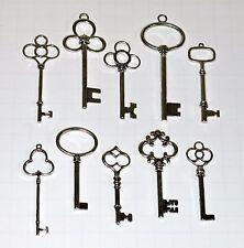 10 Silver Ornate Skeleton Keys lot Antique Vtg Old Look Steampunk Craft Charms