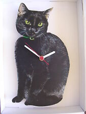 Black Cat Wall Clock. New & Boxed