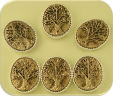 2 Hole Beads Tree of Life Raised Filigree ~ Silver Gold 2T Metal ~ Sliders QTY 6