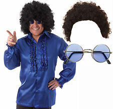 Mens 60s 70s Fancy Dress Costume Blue Frilly Shirt Afro Wg + Round Blue Glasses