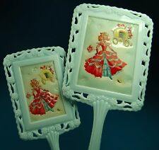 VINTAGE 1950'S CHILD HAND HELD PLASTIC MIRROR GIRL CINDERELLA With BRUSH!