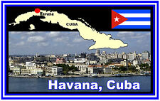 CUBA, HAVANA, MAP & FLAG  - SOUVENIR NOVELTY FRIDGE MAGNET - BRAND NEW - GIFT