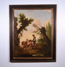 Antique Oil on Canvas Painting of Peasants, Dog and Sheep Signed & Dated 1773