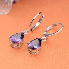 Jewelry Fashion  925 silver Amethyst zircon earrings gift for women N-371