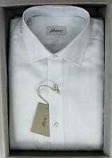 Brioni NWT 100% Cotton Textured Solid White Hand Made Dress Shirt 39 15 1/2