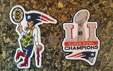 (2) New England Patriots & BOSTON STRONG MULTI  Embroidered Iron On Patch Lot