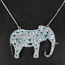 Sterling Silver 925 Large Blue Topaz & Lab Diamond Elephant Necklace 20 Inch