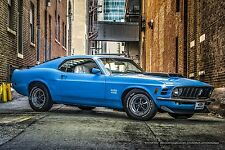 1970 Original Ford Mustang Boss 429 24x36 Automotive Muscle Car Poster