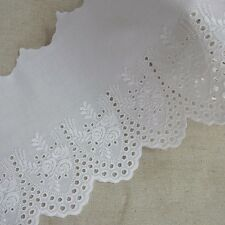 1Yard Cotton Eyelet Lace Trim 5.7 Inch(14.5cm) WD Rose Flowers White doll dress