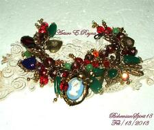 VINTAGE CHARMS BRASS HEART CAMEO CZECH GLASS BEADS ARTISAN CHANKY BRACELET