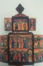 Hand Painted Ethiopian Wooden Icon Coptic Cross Ethiopia Wall Decoration