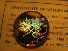 EXTRMELY RARE CANADA 2001 1/4 OZ GOLD $10 MAPLE LEAF HOLOGRAM COIN.