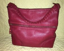 Cole Haan Cranberry Red Leather Braided Handle Hobo Bag BEAUTIFUL!