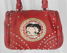 Betty Boop Red Studded Leather Handbag, Shoulder Bag