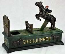 Reproduction SHOWJUMPER Jumping Horse w/ Jockey CAST IRON BANK.