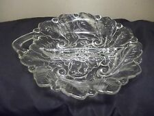 Vtg Hazel Atlas Clear Glass Flower Divided Nut Candy Relish Dish Cut Out Handle