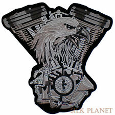 "10"" Adler Eagle V2 V Twin Motor Biker MC Velvet Back Patch Motorcycle Vest XL"