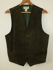Banana Republic Vintage Safari And Travel Heavy Suede Leather Vest Waistcoat Sml
