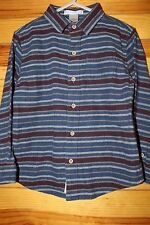*JANIE AND JACK* Boys BEAR CABIN Blue Striped Flannel Button Down Shirt Size 4