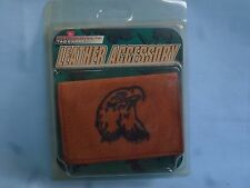 LEATHER TRIFOLD WALLET  Eagle's Head Embossed  NIP  brk