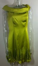 Womens KAREN MILLEN Lime Silk Cocktail Dress UK Size 12