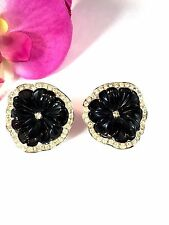 KENNETH J. LANE PERFECT PANSY COLLECTION BLACK LUCITE RHINESTONE FLOWER EARRINGS