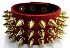 Red Genuine Leather Triple 3 Row Spiked Wristband Bracelet Solid Brass Gold