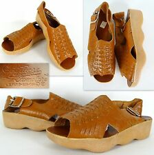 Vtg 70s FAMOLARE GET THERE Sandals Marked 7-8.5W-10 Leather Wave Rubber Platform
