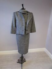 HOBBS WOOL MIX COLLAR DETAIL DRESS SUIT FULLY LINED DRESS - SIZE 12 - GREY