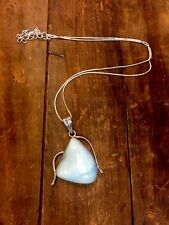 Sterling Silver Larimar Necklace Pendant Large W Adjustable Chain