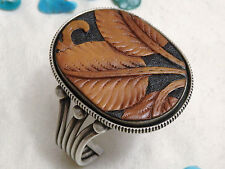 Lovely NAVAJO Joe Piasso Jr TOOLED LEATHER Leaf Design STERLING Silver 88G CUFF