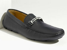 PRADA Mens Navy Blue Leather Driving Shoes Size 7.5/US 8.5 Loafer/Silver Logo