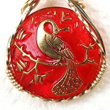 Peacock Czech Red Glass Button Pendant 14K Rolled Gold Jewelry