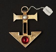 Vtg 1960 YSL Yves Saint Laurent Roger Scemama brooch anchor cabochons couture