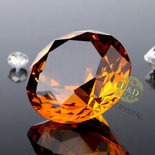 40mm Amber Cut Crystal Diamond Shape Paperweight Glass Gem Display Ornament Gift