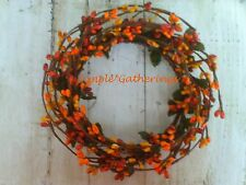 """One 4"""" Pip Berry Candle Ring / Wreath - ORANGE MIX Crafts, Primitive, Christmas"""