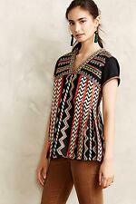 NWT Anthropologie Chevron Embroidered Top, by Ranna Gill - Black, size 6