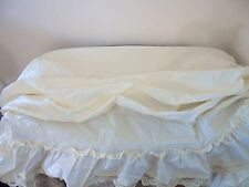 Vintage Roman Swag Cafe Curtain Ivory Ruffled Hem Lace Country Shabby Chic USA