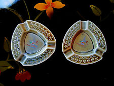 2pcs - Irish Porcelain Celtic Shamrock Ashtrays Ducks Geese Ireland