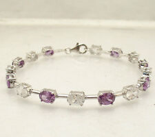 "8"" Amethyst and Clear Oval Zircon CZ Tennis Bracelet Real 925 Sterling Silver"