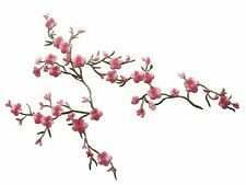 "#4130 9""x7"" Pink Quince,Sakura Flower Embroidery Iron On Applique Patch"