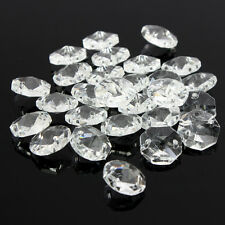 50x Crystal Glass Octagonal Beads Chandelier Light Prisms Decor Pendant 14mm
