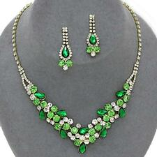 Green Clear Gold Crystal Rhinestone Prom Wedding Formal Earrings Necklace Set